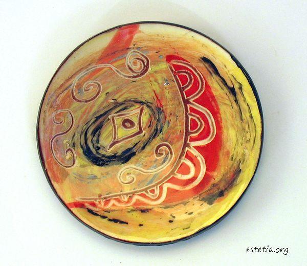 колоритна керамична чинийка - магнитче