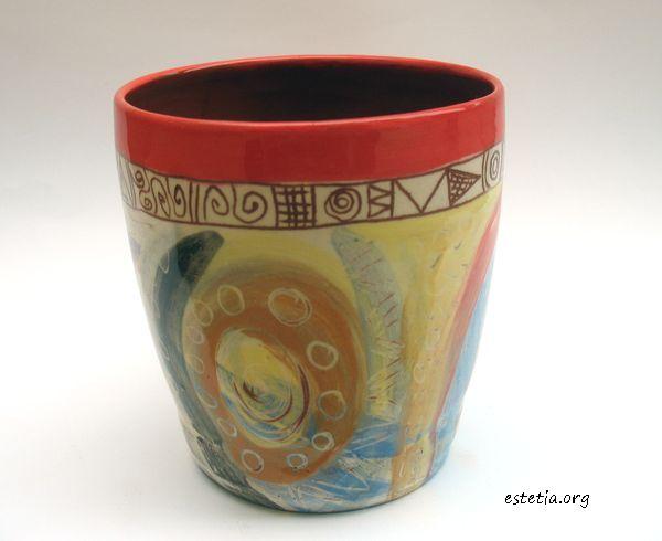 ръчно рисувана чаша - керамична