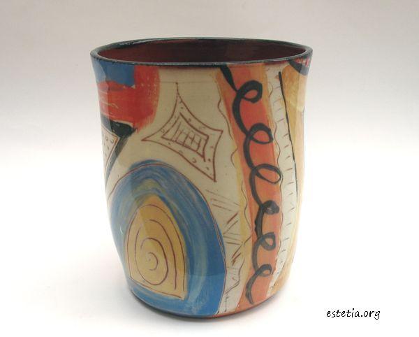 художествена керамична чаша - ръчно рисувана