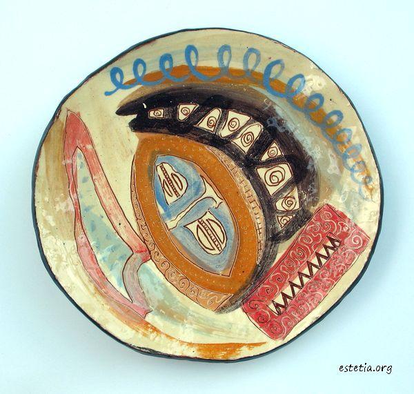 абстрактна керамична чиния - фруктиера