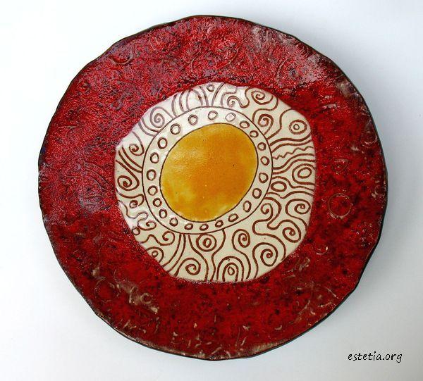 червена керамична чиния - фруктиера