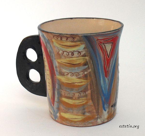 рисувана чаша с дръжка